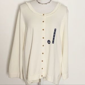 NWT-LANDS' END- Button Down Cardigan. Size 1X